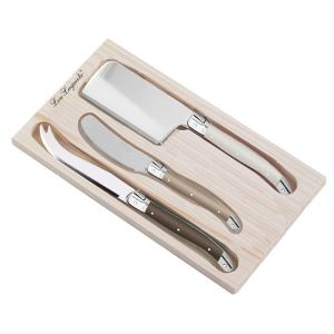 Lou Laguiole cheese knife set in wooden box